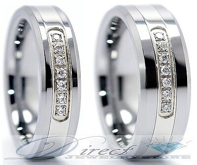 Mens Tungsten Carbide Wedding Band 7 Clear CZ Ring 6mm 8mm Size 7.5 to 14.5