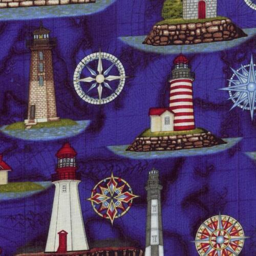 RJR Dan Morris Anchors Aweigh Lighthouse Dark Navy Blue Quilt Fabric Ocean