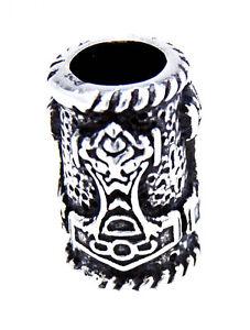 Beard Bead Silver 925 Thor's Hammer Viking Jewelry Moustache Thorhammer1145