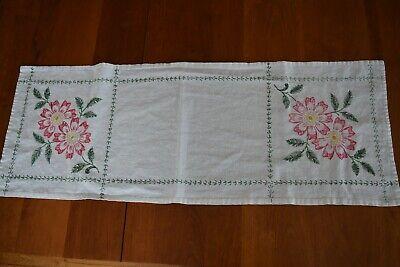 hand done 1950s pink Vinate embroidered runner mid century white floral table dresser runner crochet trim vintage hand made