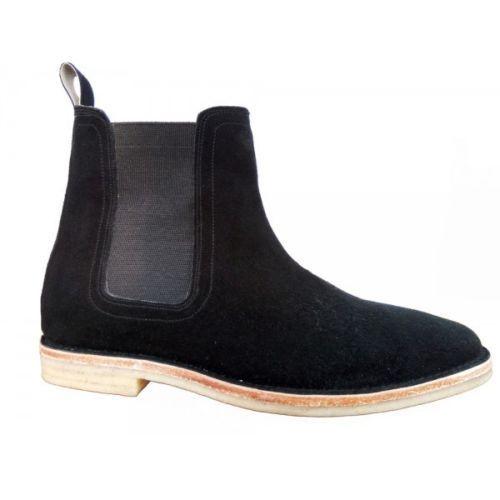 MEN HANDMADE SUEDE LEATHER Zapatos CAUSAL CHELSEA Negro SLIP ON CAUSAL Zapatos DRESS botas fac8b1
