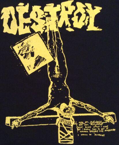 "Seditionaries DESTROY Anarchy Jesus Pistols Black Tee PuNk  L40/""  2XL 44/"" unisex"