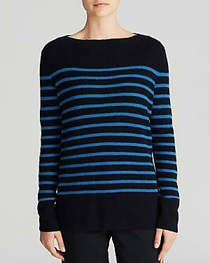 VL130 NWT VINCE RIBBED STRIPE 100% CASHMERE WOMEN SWEATER SIZE L  345