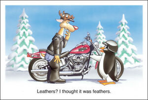 image is loading harley davidson christmas cards x842 rudolph reindeer in - Biker Christmas