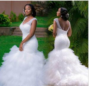 Image Is Loading Plus Size Mermaid Wedding Dresses V Neck Lace