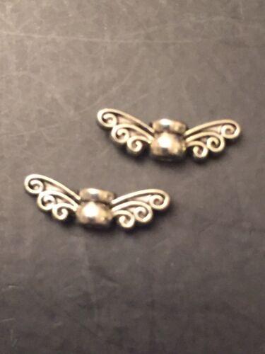 50 Antiguo Plata Mariposa Alas De Ángel granos encantos 14mm
