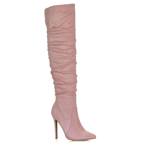 Womens Stiletto Heel Knee High Ladies Pointed Slouch Ruched Boots Size 3-8