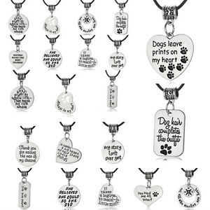 Black-Leather-Beads-Necklace-Best-Friends-Gift-Paws-Love-Dog-Pet-Charm-Pendant