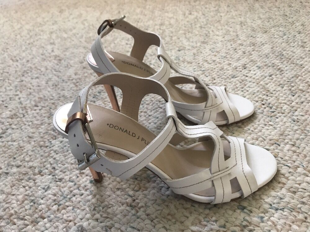 NEW DONALD J PLINER WHITE/ROSE LEATHER WOMEN'S SHOES sz. 8 M MADE IN SPAIN