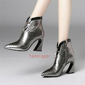 Occident-Women-039-s-Irregular-heel-Side-Zip-Leather-ankle-Boots-Pointed-toe-shoes