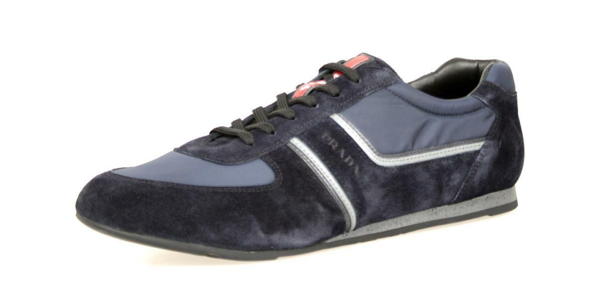 AUTHENTIC LUXURY PRADA SNEAKERS SHOES 4E2735 blueE NEW 9,5 43,5 44