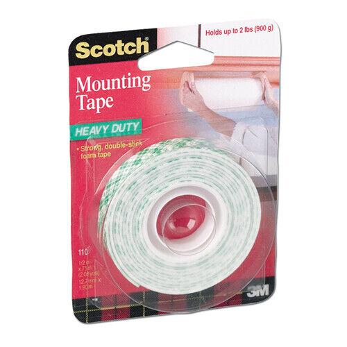 3M 110 SCOTCH HEAVY DUTY MOUNTING TAPE 1//2 INCH X 75 INCH ROLL