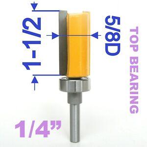"""1 pc 1/4"""" Shank 5/8"""" Diameter 1-1/2"""" Blade Top Bearing Pattern Trim Router Bit S"""