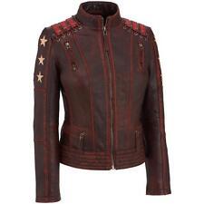 Womens Distressed Vintage Cafe Racer OX Blood Biker Motorcycle Leather Jacket