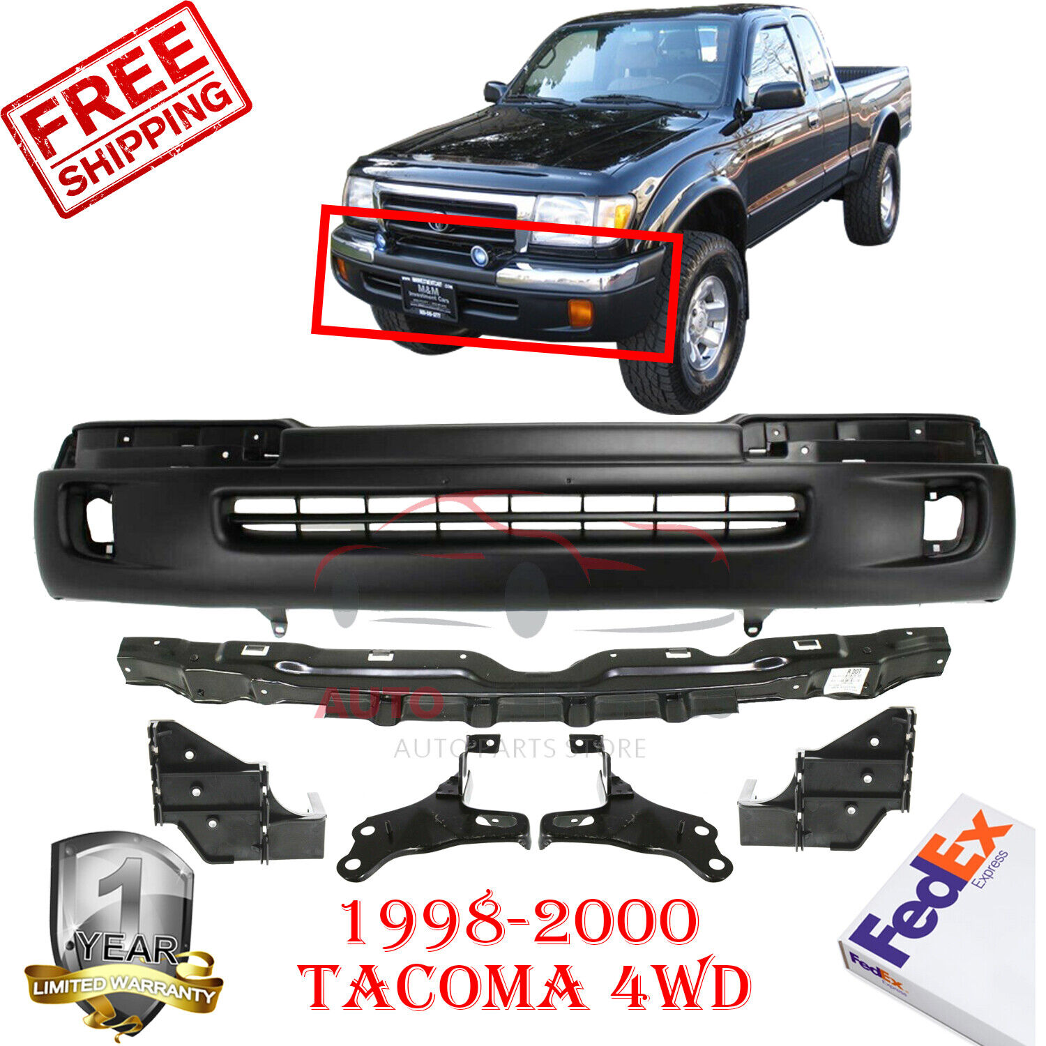For 1998-2000 Tacoma 2Wd Prerunner Tacoma 4Wd Front Bumper Trim Cap Chrome Rh