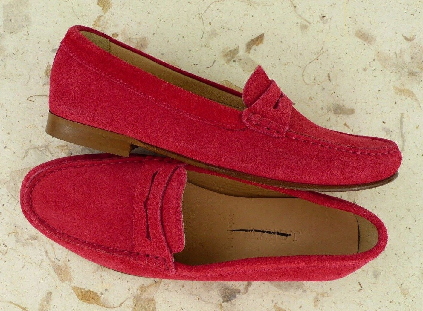 NEW J. CREW Retail  178 Women's JAMES SUEDE PENNY LOAFERS RED Size 6.5 ITALY