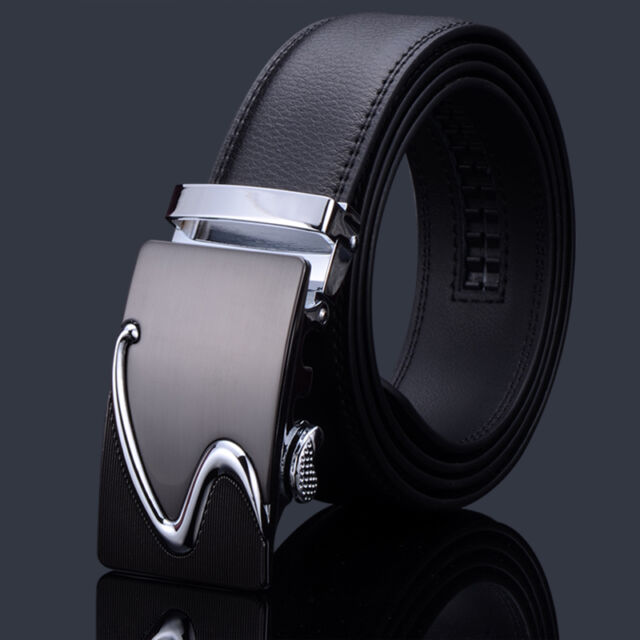 Men' S Letters Business Cowhide Real Leather Automatic Buckle Belt Black PD063-2