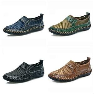 New-Mens-Leather-Casual-Shoes-Breathable-Driving-Loafers-Slip-on-Mesh-Shoes