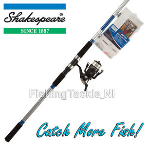 Shakespeare-10ft-Surf-Pier-Fishing-Rod-Reel-amp-Tackle-Box-Kit-039-Catch-More-Fish-039