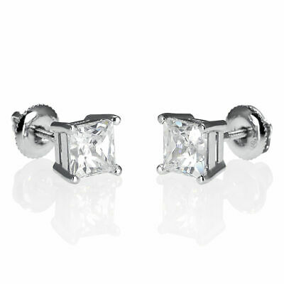 4 Carat Solitaire Enhanced Diamond Stud Earrings Princess H/vs1 18k White Gold Fine Earrings Jewelry & Watches