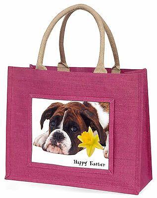 Boxer Hund 'Personalisiert' Große Rosa Einkaufstasche Weihnachtsgeschenk,