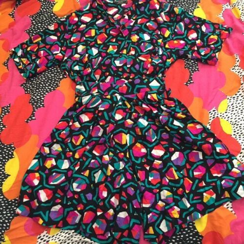 Vintage Colorful Geometric Print Two Piece Rainbow