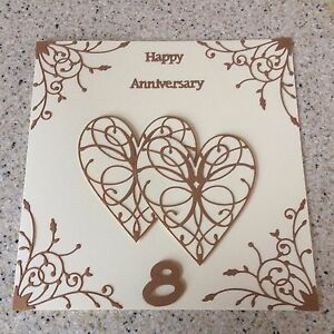Image Is Loading Handmade Bronze Wedding Anniversary Card Hy 8th