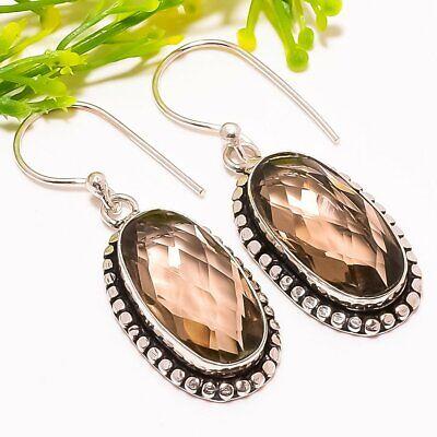 "Jewelry & Watches Smokey Quartz Gemstone Handmade Fashion Jewelry Earring 1.6"" Se5269"