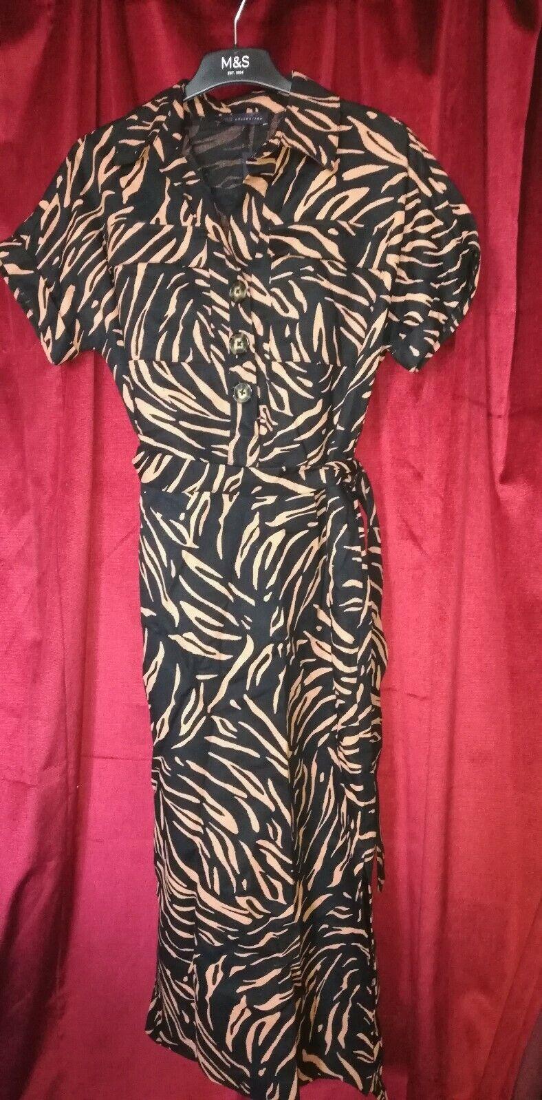 SIZE 8 M&S DRESS LONG ANIMAL PRINT LINEN NWT BLACK TAN SAFARI STYLE ZEBRA BELT