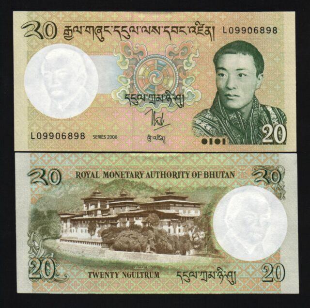 BHUTAN 20 NGULTRUM P30 2006 *BUNDLE LOT NEW KING DZONG DRAGON UNC MONEY 100 NOTE
