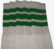 """22"""" KNEE HIGH GREY tube socks with GREEN stripes style 1 (22-44)"""