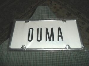 New ouma raised letter metal license plate w frame wall for Raised metal letters