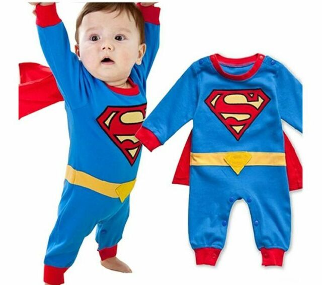 Baby Boy Romper Superman Long Sleeve Smock Halloween Christmas Kids Costume Gift
