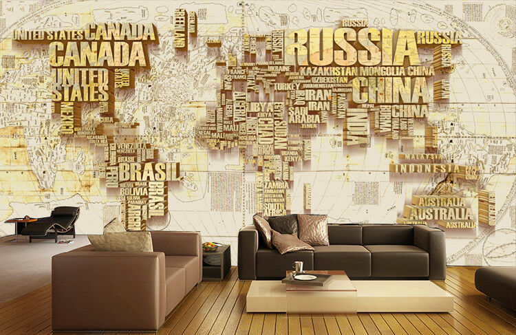 3D Country World Map 7 Wall Paper Murals Wall Print Wall Wallpaper Mural AU Kyra