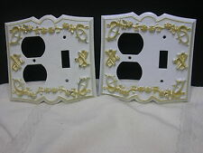 2 Matching Vintage Cast Metal Switch Plates For Light White Gold Ornate Flower
