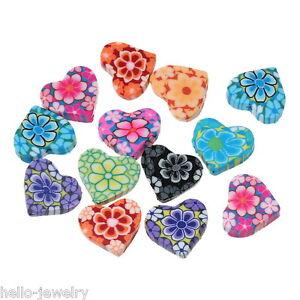 50-Mix-Millefiori-Perlen-Beads-Ton-Herz-Gebluemt-Basteln-Mehrfarbig-15x13mm