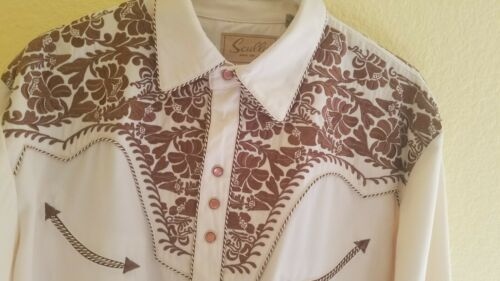 Mens Scully Western Pearl Snap Embroidered Button