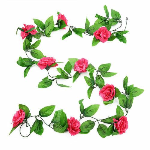 2x 8Ft Artificial Rose Garland Silk Flower Vine Ivy Wedding Garden String Decor