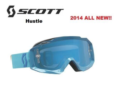 2014 Scott Hustle Goggles WHITE MINT W SILVER CHROME LENS Dirtbike Motocross Men