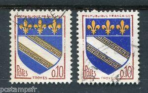 FRANCE 1962, timbre 1353, variété de couleur, ARMOIRIES TROYES, oblitérés