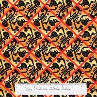 Halloween Fabric - Skeleton Cross Bones Orange Yellow Black - Free Spirit Yard