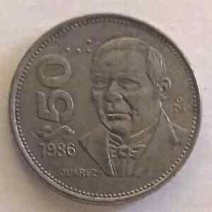 Escaza Moneda de $50 pesos 1986 BENITO JUAREZ  , km #495