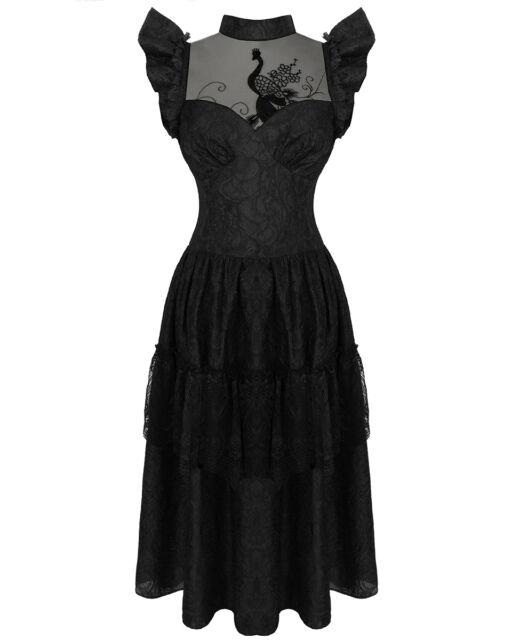 Dark In Love Gothic Peacock Evening Dress Black VTG Steampunk Victorian Formal