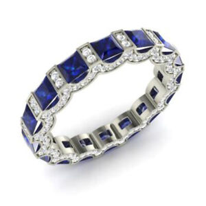 3-88-CT-Saphir-Naturel-Gemme-Bande-Solide-950-Platine-Diamant-Bague-Taille-N-P
