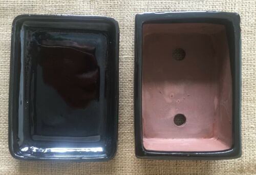 Black Glazed Rectangular Bonsai Pot With Matching Drip Tray 16x12x6cm