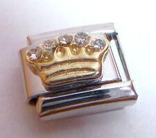 GOLD CROWN CLEAR GEMS Italian Charm Tiara Princess 9mm fits Classic Bracelets