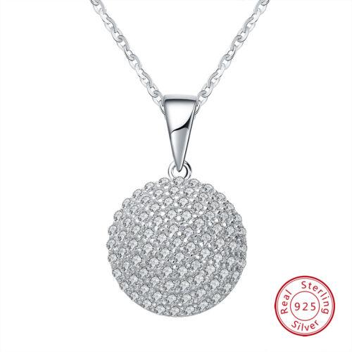 Coeur creux Tiny CZ Rond Collier Pendentif Réel S925 Sterling Silver Jewelry
