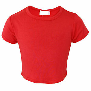 456033df8a74 Girls Plain Crop Top Short Sleeve Kids Fashion Party Tops Red New 7 ...