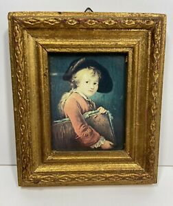 Vintage-Florentine-Toleware-Gilt-Wood-Framed-Victorian-Boy-Portrait-Print-5-034