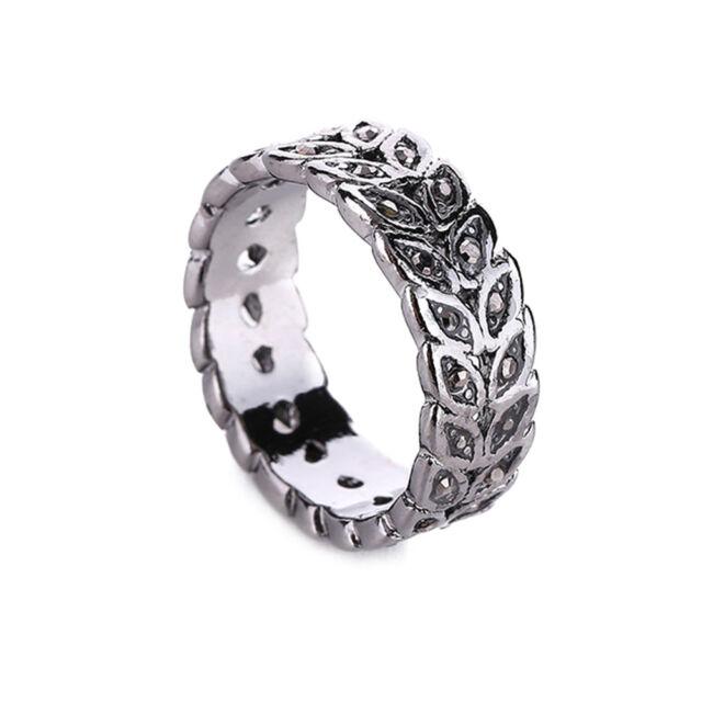 Boho Vintage Leaf Style Marcasite Black Sapphire Silver Women Ring Fashion